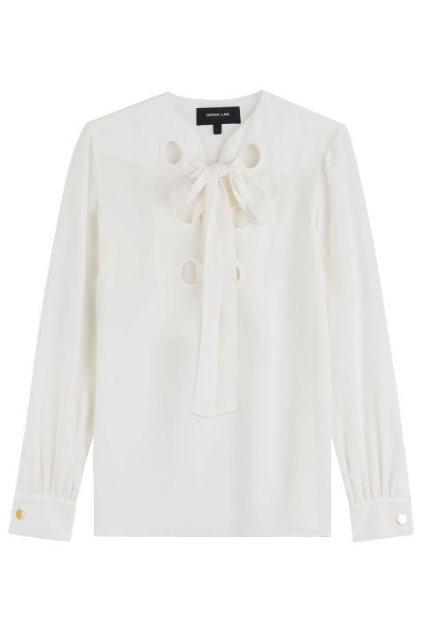 Derek Lam Silk Lace-Up Blouse, $755; stylebop.com