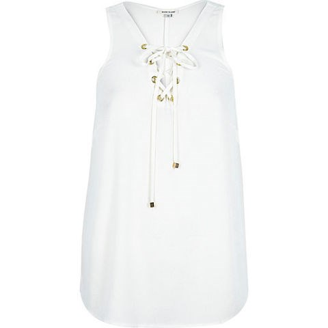 River Island Eyelet Lace Up Tank, $56; riverisland.com