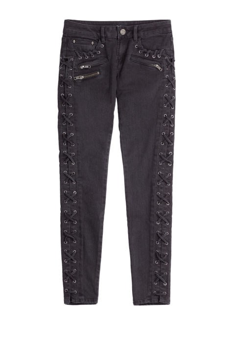 The Kooples Skinny Jeans With Lace-Up Trim, $147;stylebop.com