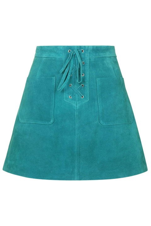 Topshop Lace-Up Suede Skirt, $150; topshop.com