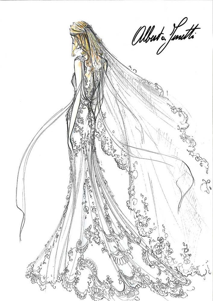Designer Alberta Ferretti 'To me, there is no difference between designing for a bride or for a show, for two reasons. Firstly, they're both magical moments and, secondly, the bride and the opening look of my show always make me think of a moving figure that is elegant and sensual. Candice's long veil is fully lined with lace that was especially hand-notched by five people in the French region of Cambrai. It's such a special day – a wedding dress is like a new blank page to write the beginning of a new life on.' Photo by Illustration by: Alberta Ferretti