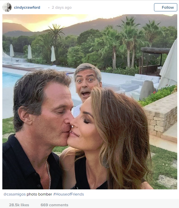 Oh George, you prankster! Here he is spoiling a romantic moment between his friends Cindy and Randy.