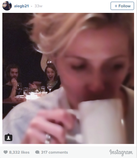 """One Instagrammer tried to stealthily snap Emma Stone and Andrew Garfield and was totally caught. She captioned the snap """"Ok, so...either I caught a great moment between #AndrewGarfield & #EmmaStone or I clearly got caught and I am officially FIRED as a paparazzi… """"#oops."""""""