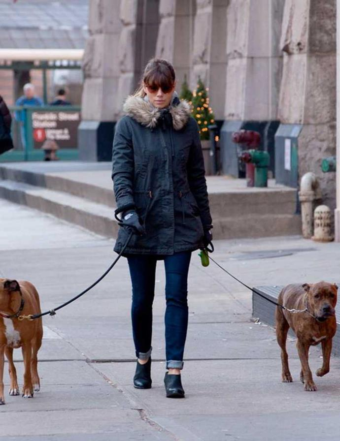 Jessica Biel wearing her favourite AllSaints 'Crimean' boots whilst walking her dogs in New York, December 2012.