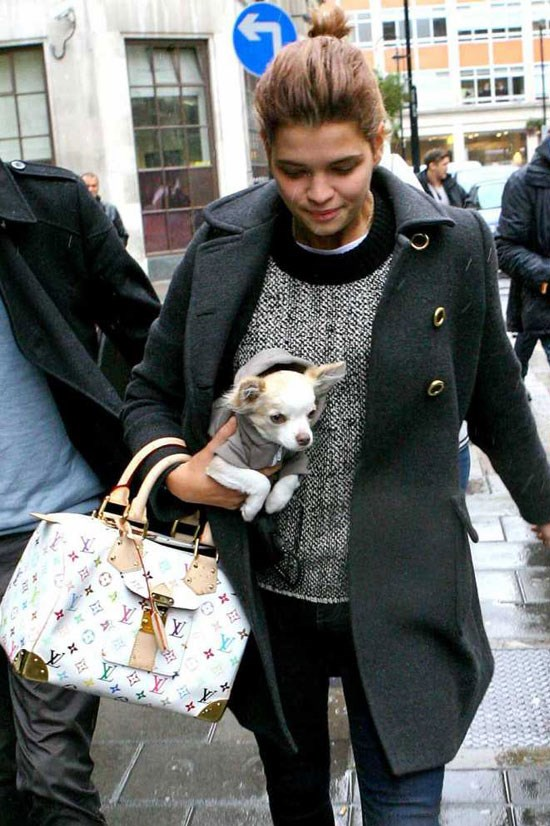 Pixie Geldof and her dog in London.