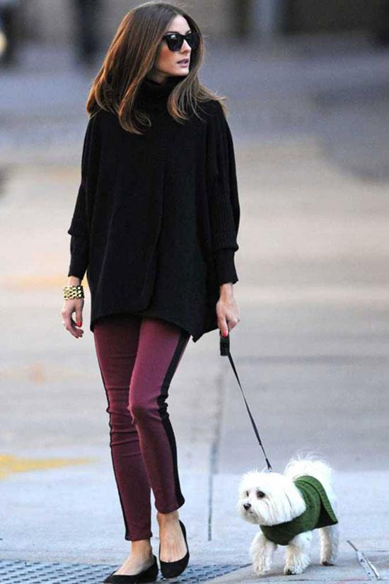 Olivia Palermo out in New York with her dog, Mr Butler.