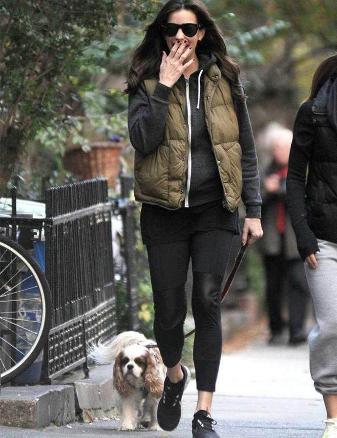 Liv Tyler take her dog Neal for a walk in New York.