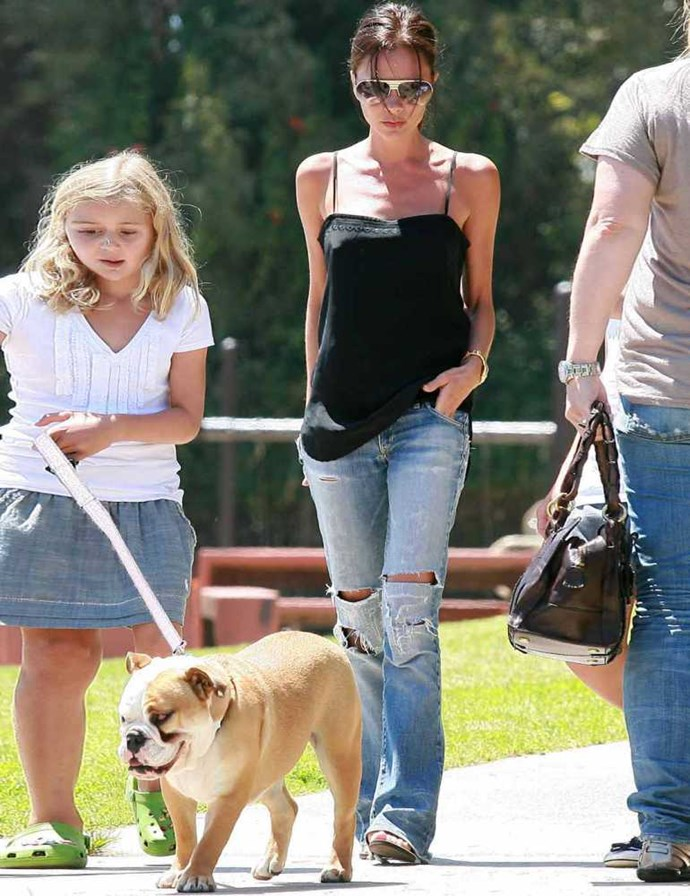 Victoria Beckham walking her dog Coco in the Park.