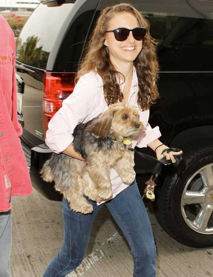 Natalie Portman and her pooch Whiz.