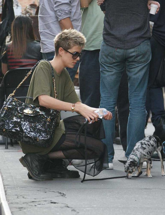 Agyness Deyn with her small pet dog in New York.