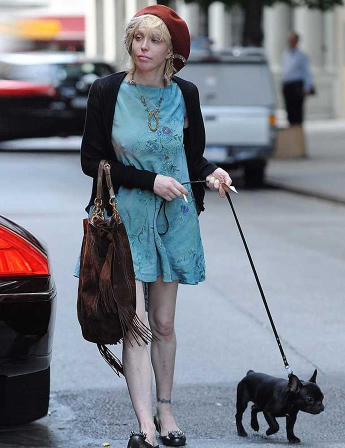 Courtney Love walking her dog Uncle Fester.
