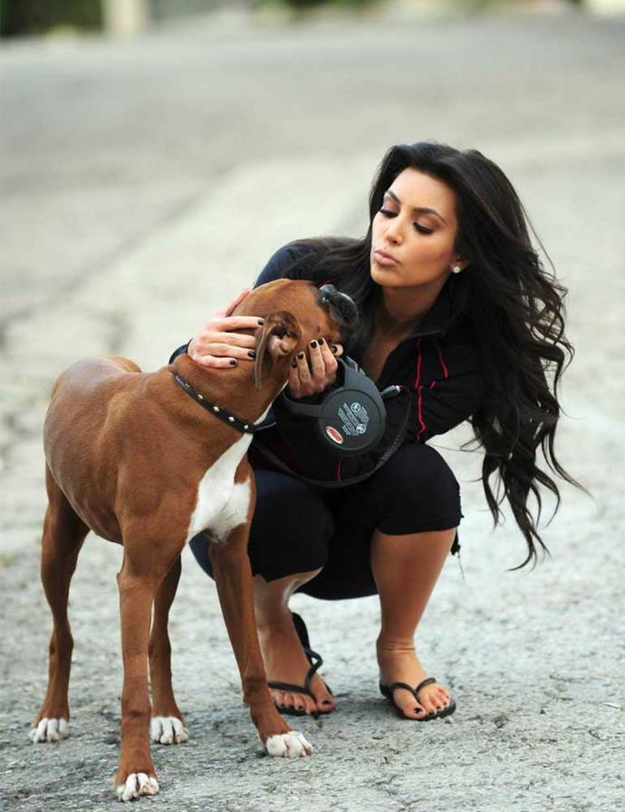 Kim Kardashian with Rocky her boxer.