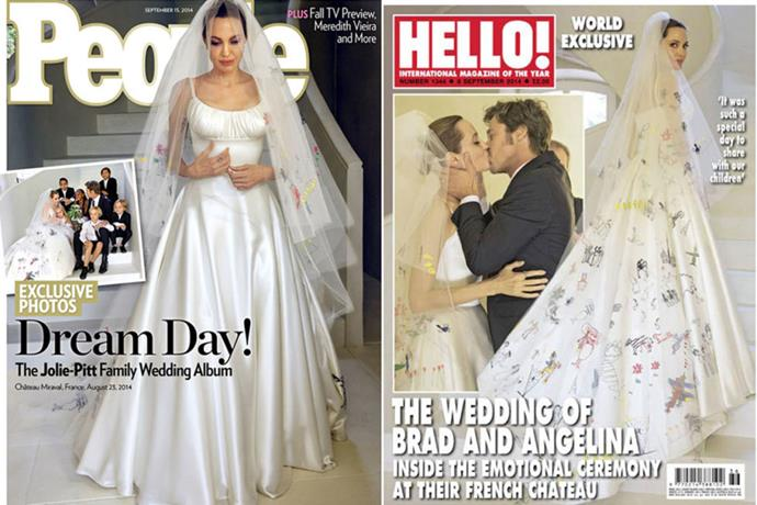 Angelina married Brad Pitt in custom Versace. But the best bit were the illustrations on her veil by her children.