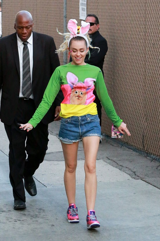 Miley Cyrus in Los Angeles, August 2015. Who else can pull off bunny ears when it's not Halloween?