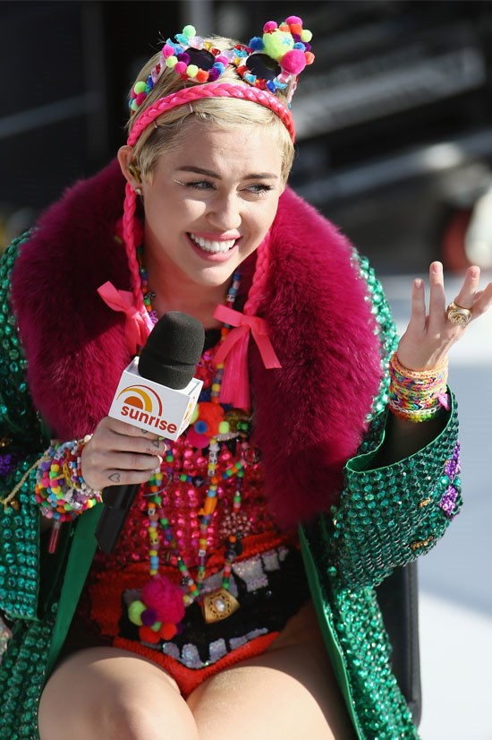 Miley Cyrus on Channel 7 <em>Sunrise</em>, October 2014.