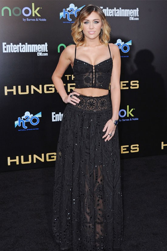 Miley Cyrus at the premiere for <em>The Hunger Games</em>, March 2012.