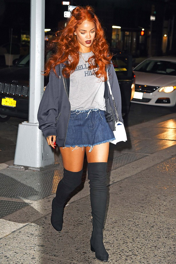 Riri is the ultimate bad girl in thigh-highs and fraying.