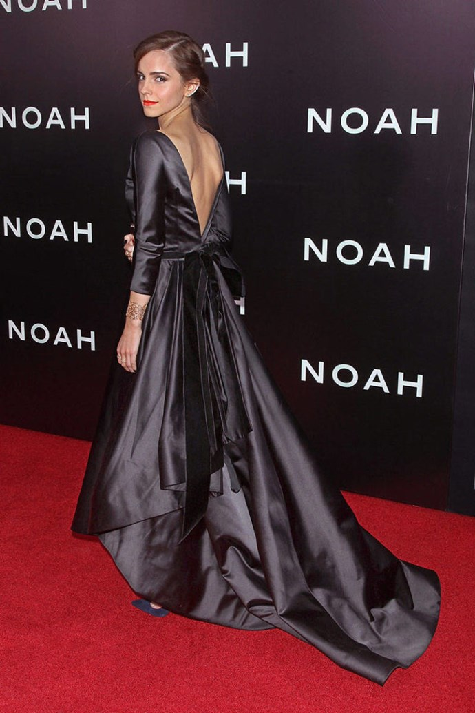 <p><strong>MARCH 26, 2014</strong></p> <p>In an Oscar de la Renta dress, Roger Vivier clutch, Ana Khouri ear cuff, Jennifer Meyer rings, and Aurelie Bidermann cuff at the New York premiere of Noah.</p>