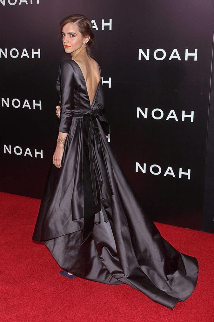 <p><strong>MARCH 26, 2014</strong></p> <p>In an Oscar de la Renta dress, Roger Vivier clutch, Ana Khouri ear cuff, Jennifer Meyer rings, and Aurelie Bidermann cuff at the New York premiere of Noah.</p>