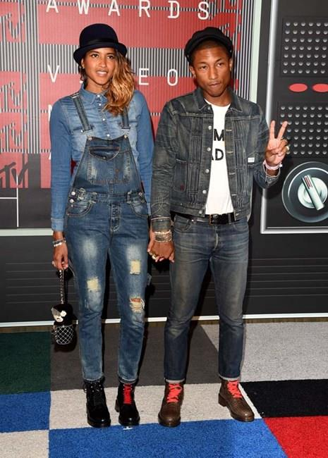 Pharrell and his wife Helen Lasichanh twinned in double denim at the 2015 VMA's and are basically the cutest couple ever.