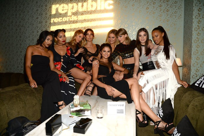 MARTHA HUNT, LILY ALDRIDGE, SELENA GOMEZ, TAYLOR SWIFT< HAILEE STEINFELD, SERAYAH MCNEILL At the Republic Records 2015 VMA after party at Ysabel restaurant.