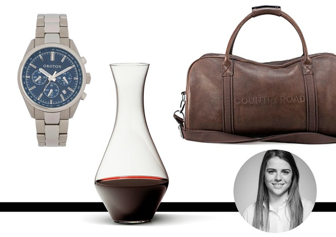 "Laura Disibio, fashion office coordinator <br><br>When dad travels, I like it to be in style, Weekender Bag, $499, Country Road, <a href=""http://www.countryroad.com.au"">Country Road</a> <br><br>My dad loves watches, this one certainly adds to the classic collection, Watch, $345, Oroton, <a href=""http://www.oroton.com.au "">Oroton</a> <br><br>The wine may not ever make it there, but it's the thought that counts, decanter, $64.95, Riedel, <a href=""http://www.riedelglass.com.au"">Riedel</a>"