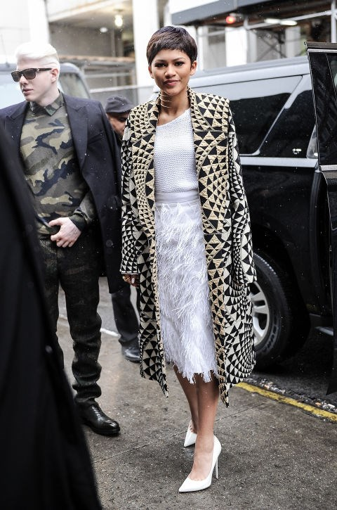 FEBRUARY 14, 2015 Outside the Christian Siriano show during New York Fashion Week. GETTY