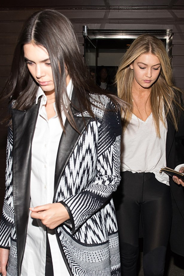 Centre parts and sleek strands all the way for Gigi's bday in New York