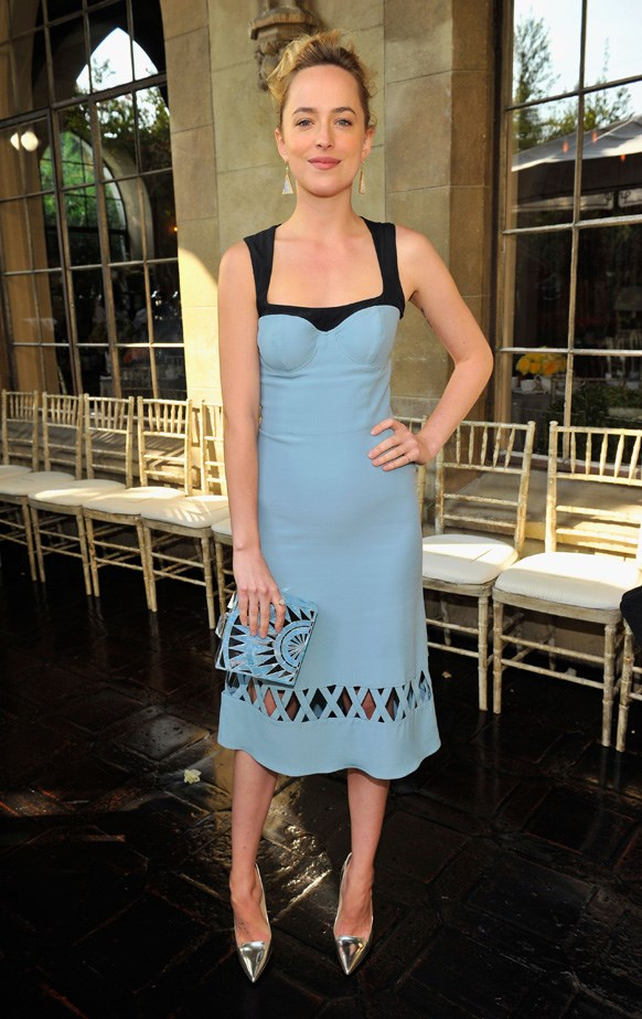 Dakota Johnson stuns in egg shell blue at the 2013 CFDA/Vogue Fashion Fund Event.
