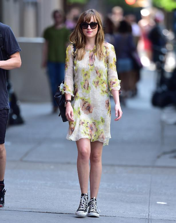 Wearing an Isabel Marant dress and Converse while in New York City.