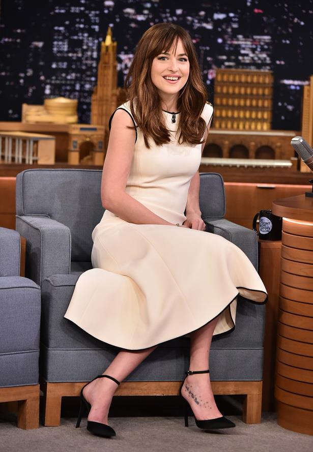 Dakota Johnson Visits 'The Tonight Show Starring Jimmy Fallon' at Rockefeller Center in 2015.