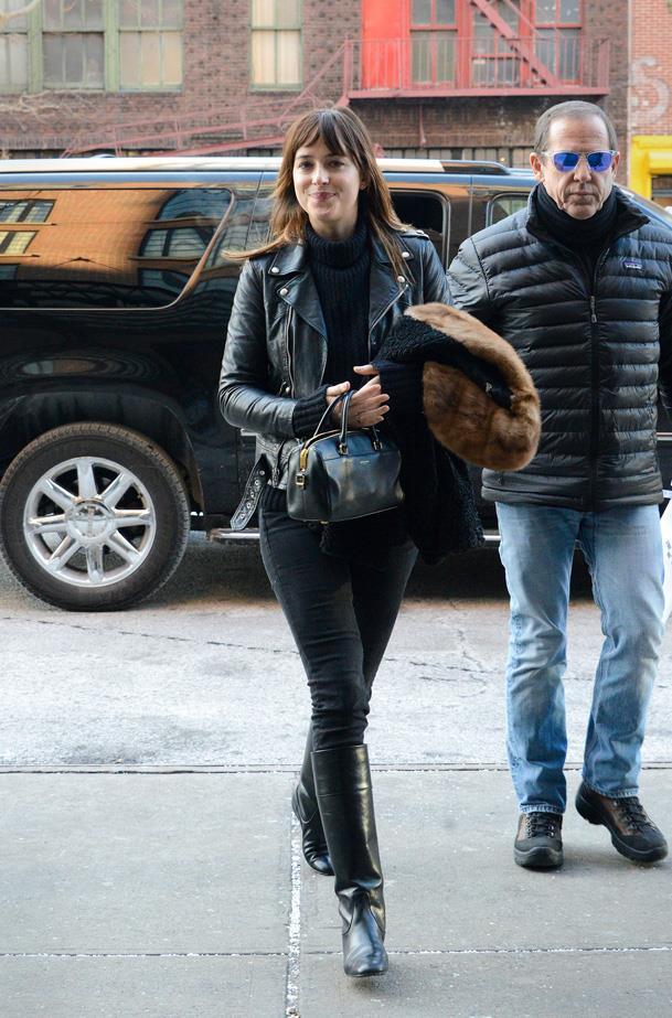 Wearing head-to-toe black in Soho.