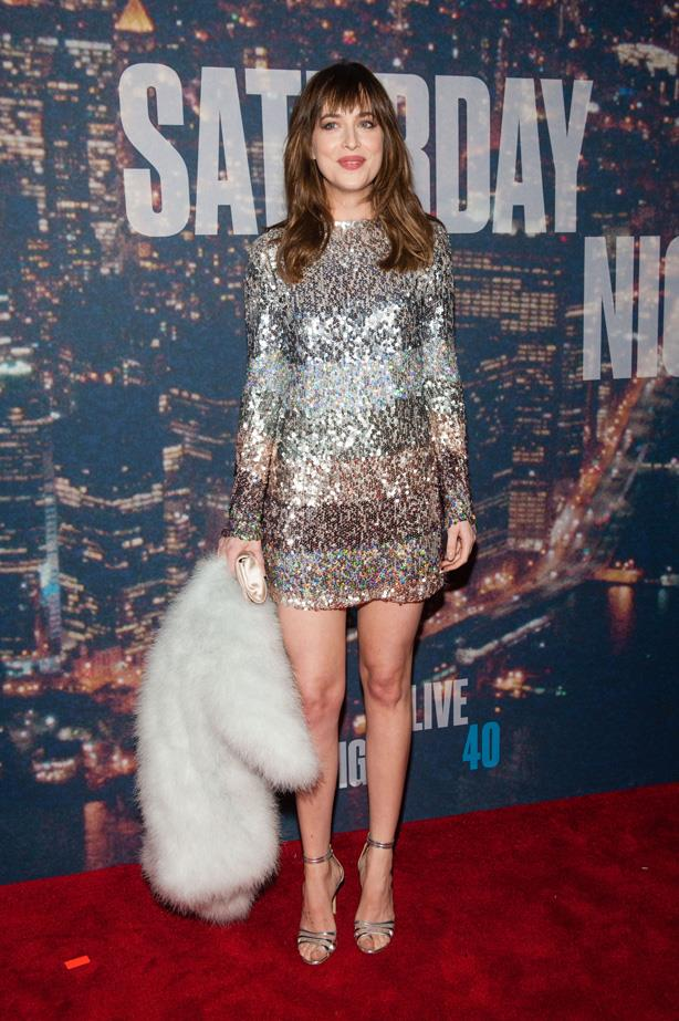 Dakota Johnson goes 60s style to the SNL 40th Anniversary Celebration earlier this year.