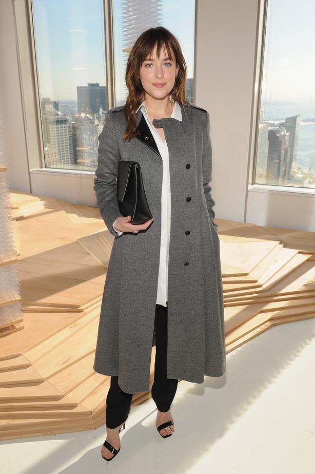 Dakota Johnson attends the Boss Womens fashion show during Mercedes-Benz Fashion Week Fall 2015.