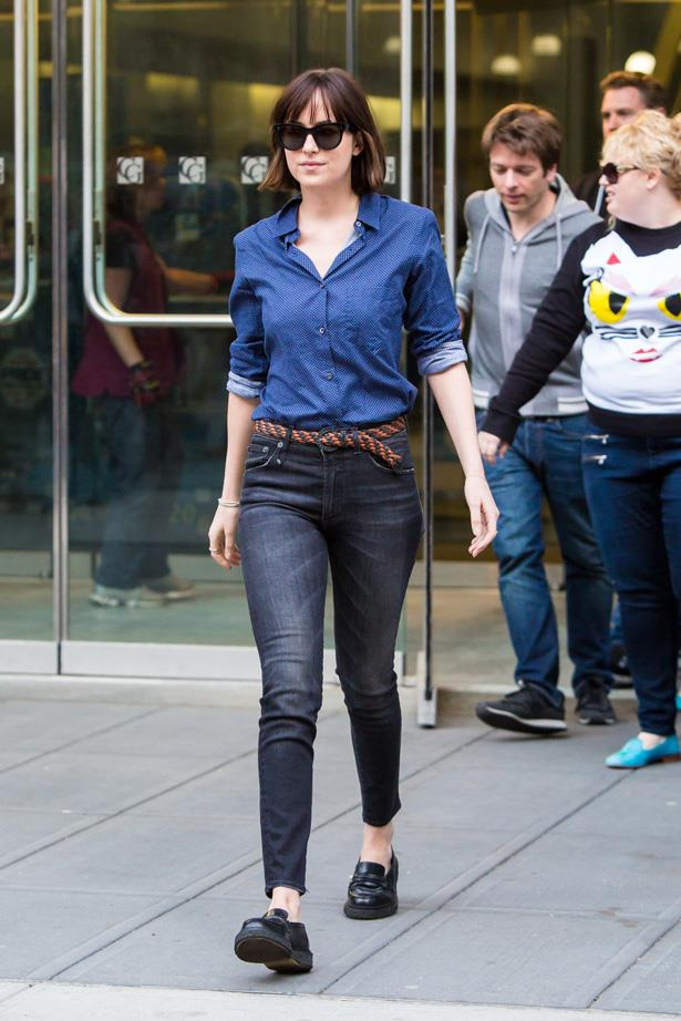 Dakota Johnson is seen filming 'How To Be Single' on May 15, 2015 in New York City.