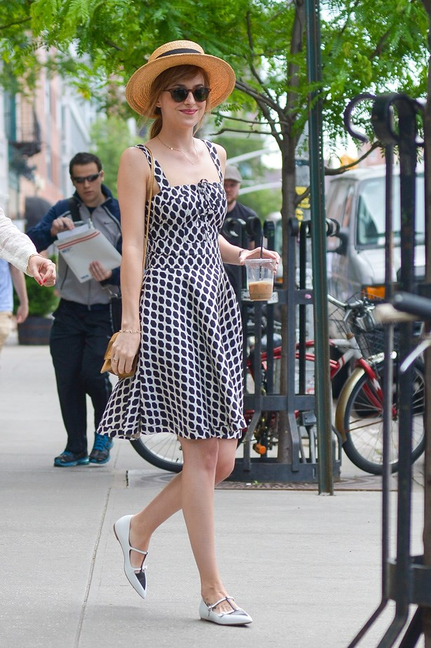 Looking like a summer-time dream in a dress and Tabitha Simmons flats.