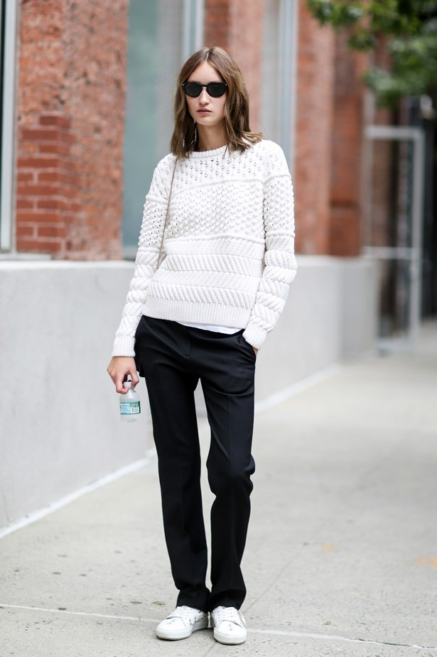 Style with slouchy suit pants.