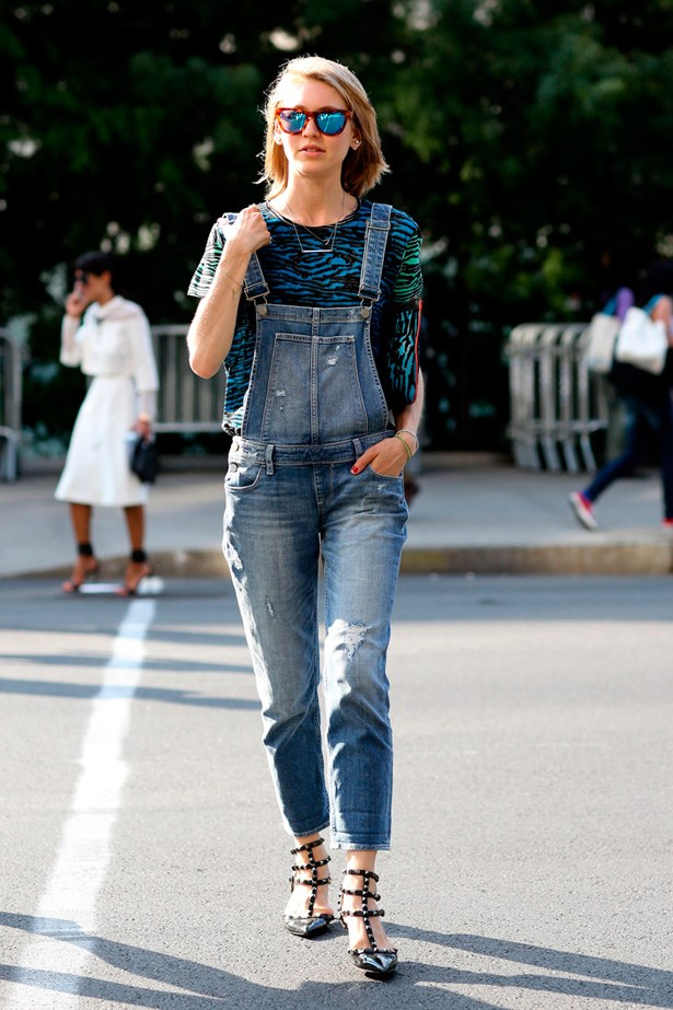 Denim overalls and reflector sunnies, oh sunglasses, how we have missed you.