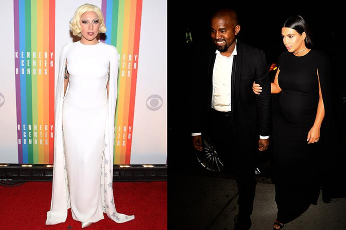 **Lady Gaga and Kim Kardashian** <br><br> Rocking the infamous cape dress, Kim Kardashian has also worn a black version of the dress before. Bonus points for everybody to see Kanye full-blown beaming like that.
