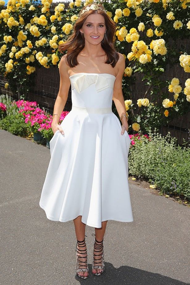 Kate Waterhouse wears all-white for Derby Day and a pretty headpiece that's just as statement making a hat.