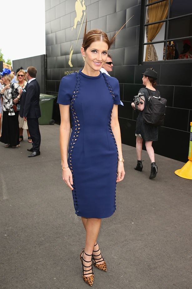 Melbourne Cup is all about having fun, and Kate Waterhouse gets the tick for going bold in this block colour dress, pairing it with leopard print shoes.