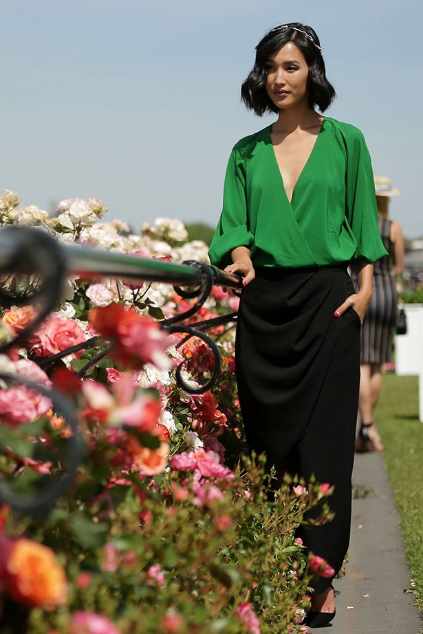 Silky Separates are a great (and beautiful!) alternative to a dress, especially in this emerald green colour worn by Nicole Warne.