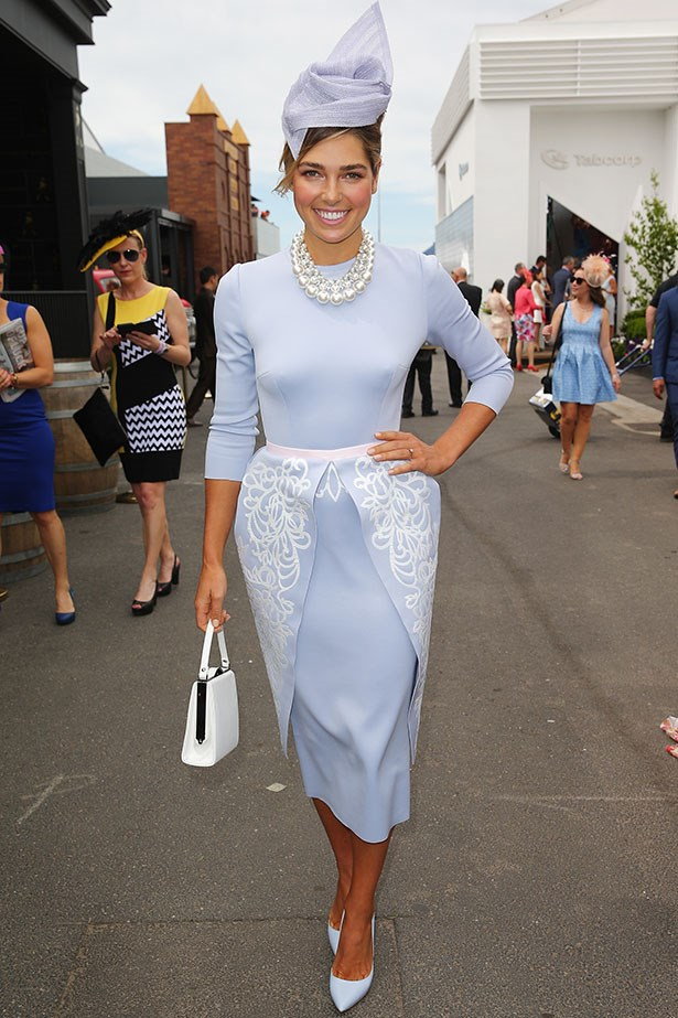 Ashley Hart is ladylike, with pearls to boot at the Melbourne Cup.