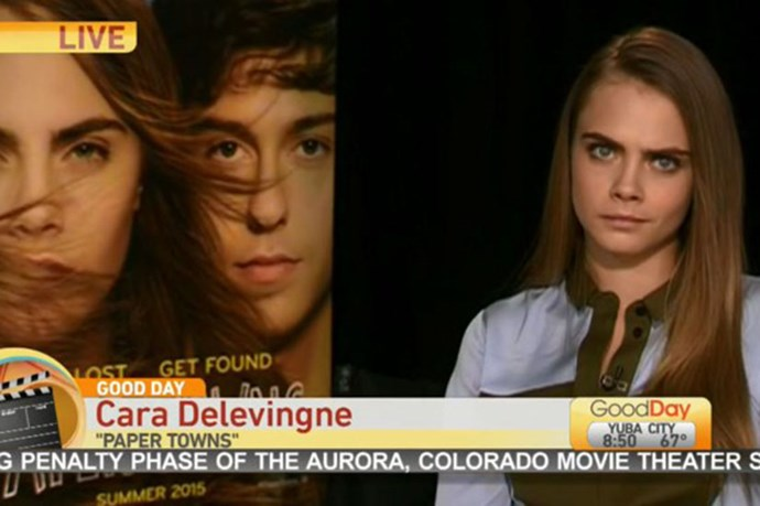 """In one of the most uncomfortable interviews ever, Cara Delevingne was told off by TV hosts for not seeming enthused enough and """"irritated"""". The panel later concluded that Delevingne had been in a """"mood."""" Cara's face says it all, really."""