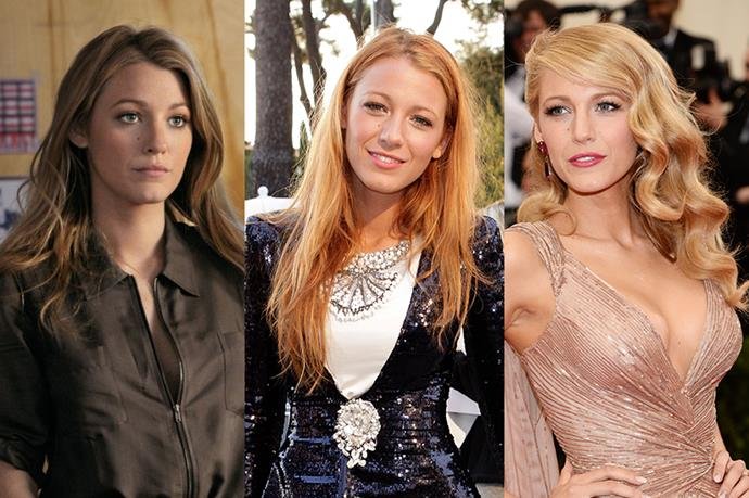 "**Blake Lively**<br><br>  While she may be pioneering (we think) the new ultra-phenomenon ""Bronde"" at the moment, Blake Lively is no stranger to a dye job. The actress has flirted between blonde, strawberry red and mahogany."