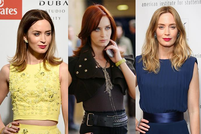 **Emily Blunt**<br><br>  She hasn't revisited red since her #iconic role as our spiritual fashion guide Emily in Devil Wears Prada, but Emily Blunt is still bouncing between blonde and brunette pretty regularly.
