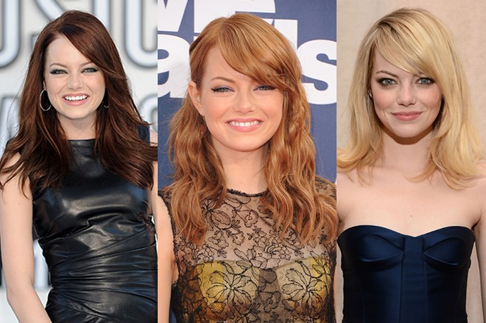 Emma Stone may be a natural blonde (I know right? What?) but she stays pretty firmly in the red lane nowadays.
