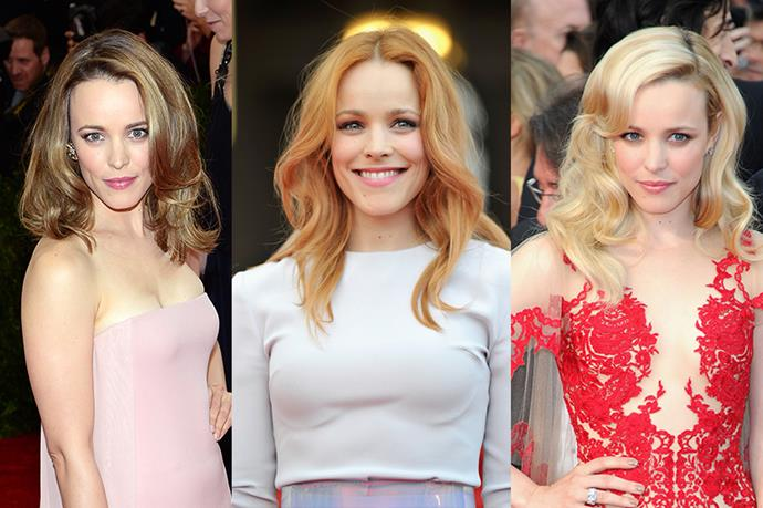 **Rachel McAdams**<br><br>  Rachel McAdams has obviously spent her fair share of time in the hair salon. She has gone from long to short, waves to buzz cuts, and, of course, blonde to red to brown.