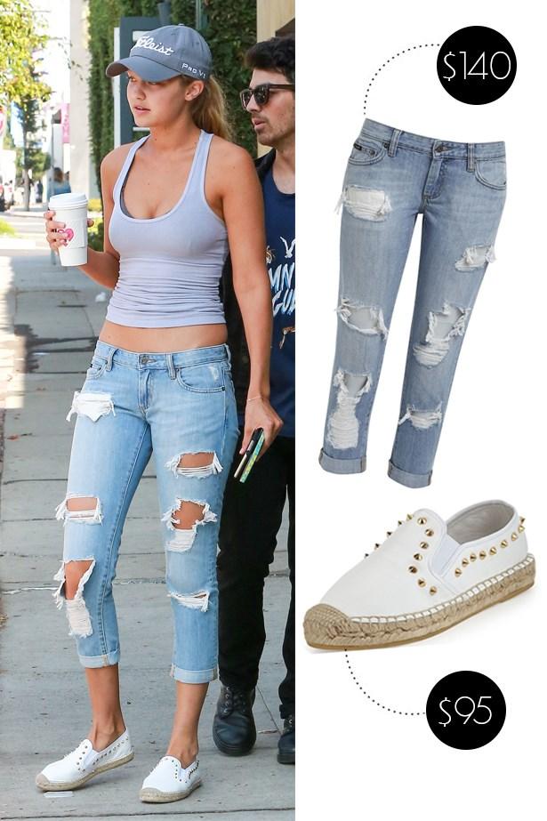"<a href=""http://www.bardot.com.au/ProductDetails.aspx?element=31&category=1&PKID=516168"">Bardot 'Kimye' jeans</a>, $140. <a href=""http://store.ashfootwearusa.com/zest-s15-white.html"">Ash espadrilles</a>, $95."
