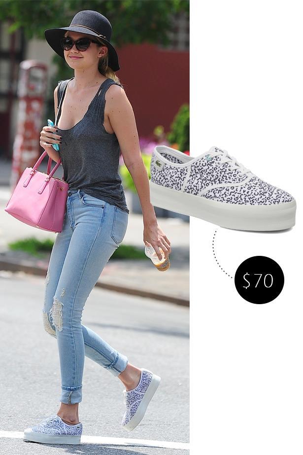 """<a href=""""http://www.lacoste.com/us/lacoste/shoes/women/sneakers/women-s-rene-platform-sneaker/28LEW4001.html""""><strong>Lacoste platform sneaker</strong></a> (not available in Australia), US$70"""